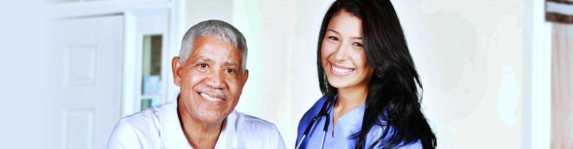 caregiver assisting senior man to walk